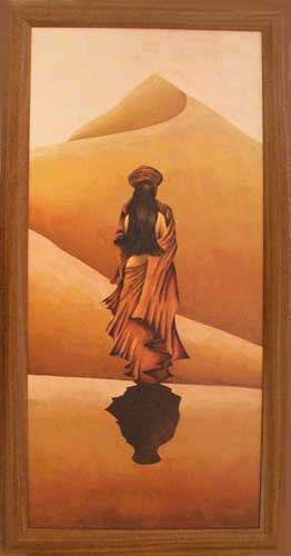 Wüstentraum, Tuareg vor Sanddünen Wandbild