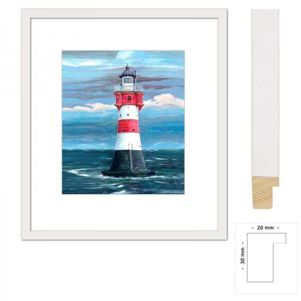 Rot-weißer Leuchtturm Wandbild, Bild gerahmt