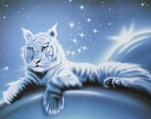 Weißer Tiger Fantasy Poster