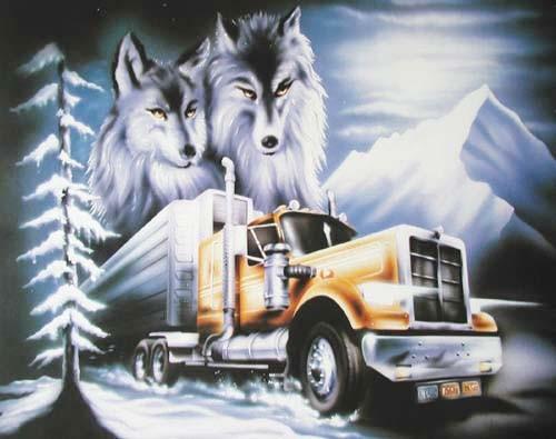 Truck und Wölfe