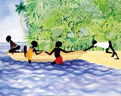 Afrikanische Kinder im Boot Poster