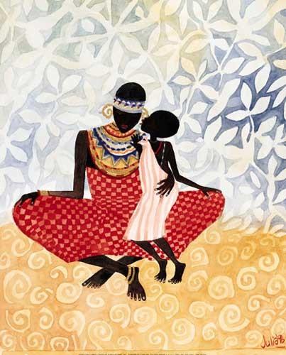 Afrikanische Kunst - Mutter und Tochter Bild