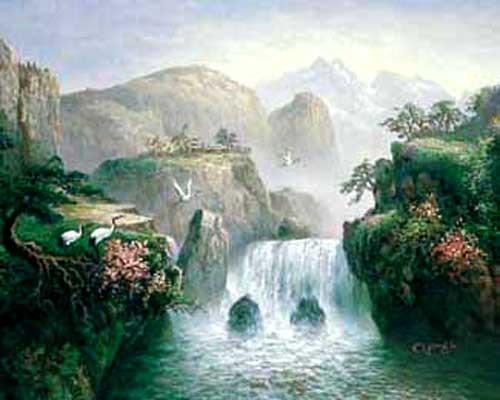 Kraniche vorm Wasserfall, Chiu Alu Bild