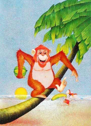 Affe und Maus am Strand