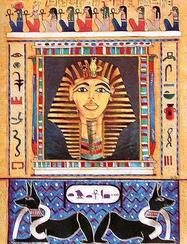 Tutanchamun Maske mit Anubis, Collage Alubild