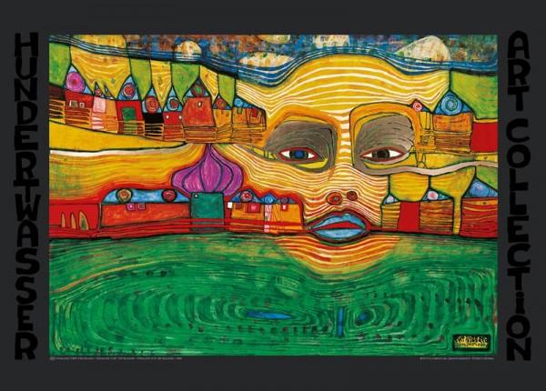 Kunstdruck Hundertwasser Irinaland über Balkan