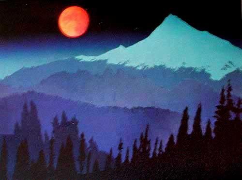 Blutmond, roter Mond über Berge Alu Bild