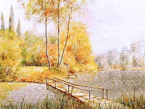 Herbstliche Landschaft mit Holzbrücke übers Wasser - Alubild