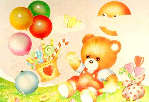 Teddy mit Zuckerstangen und Luftballons