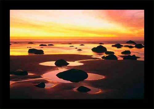 Sonnenuntergang bei Ebbe Poster