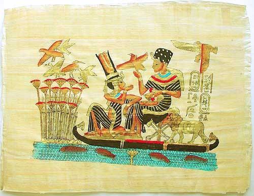 Pharao und seine Gemahlin auf Boot Papyrusbild