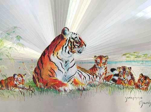 Tiger mit Jungen Alu Bild