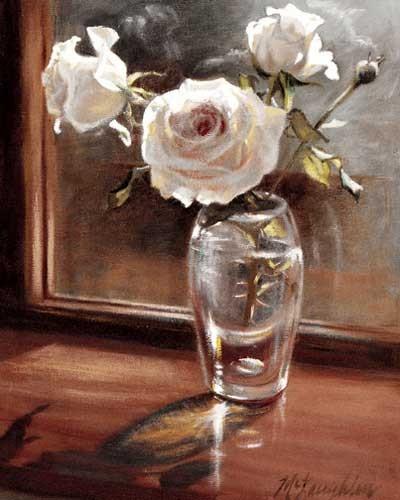 Weiße Rosen in der Glasvase Kunstdruck 20x25