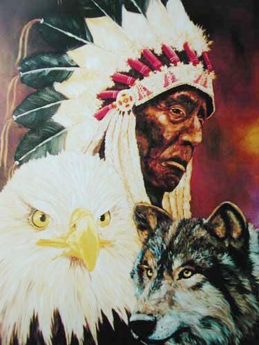 Indianer mit Wolf und Adler