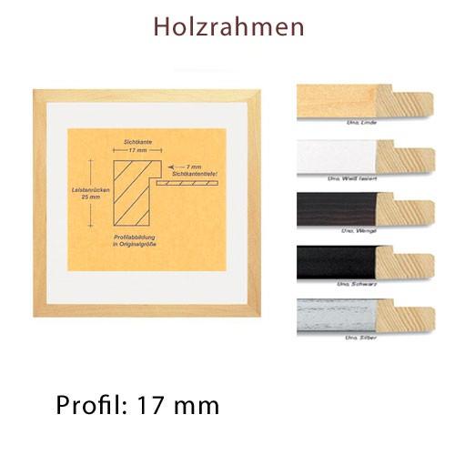 Holzrahmen 30x30 cm, Profilbreite 17 mm in Schwarz, Weiß, Silber und Linde natur
