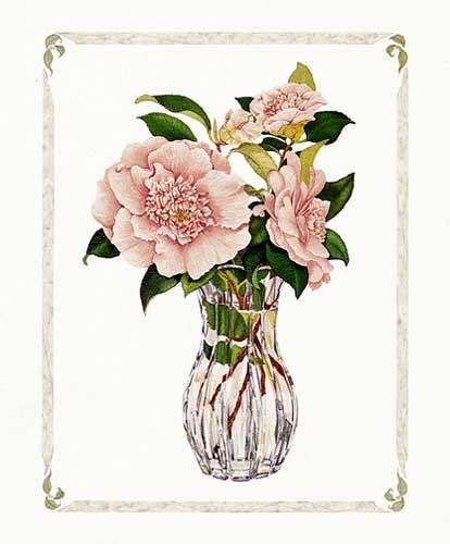 Pinke Rosen in der Vase Kunstdruck 20x25