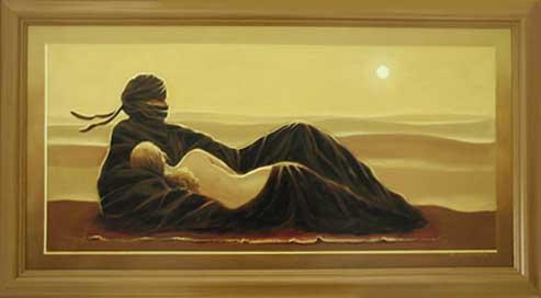 Wandbild tuareg liebespaar vor sandd ne 66x116 cm kaufen - Wandbild orientalisch ...
