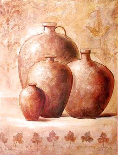 Vier Terracotta Krüge by S. Sauci *