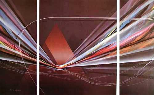 Abstraktes Bild mit Pyramide- Triptychon
