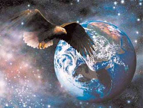 Weißkopfadler und Erde Fantasy Alu Bild