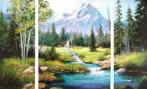 Berglandschaft mit Fluss, Caroselli- Triptychon
