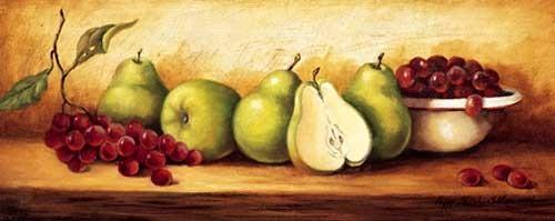 Stilleben mit Birnen und Weintrauben
