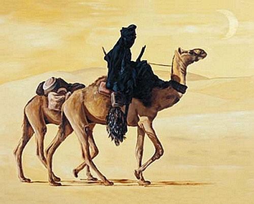 Tuareg mit Kamelen Poster