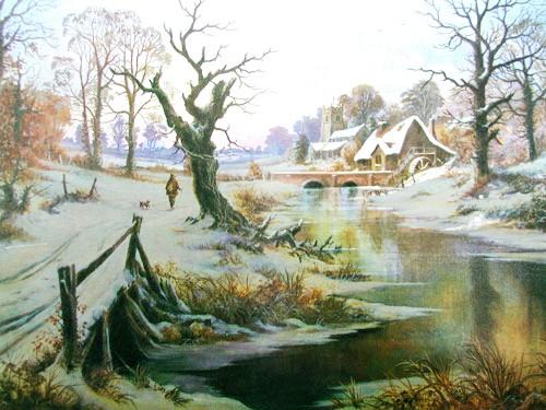 Spaziergang im Winter Alu Bild