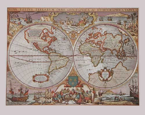 Hydrographische und geographische Weltkarte, Silber