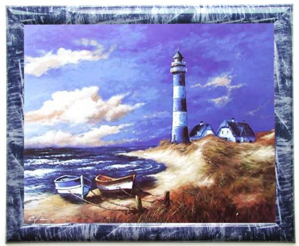Wandbild Weissblauer Leuchtturm