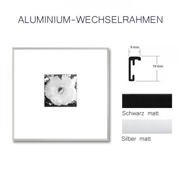 Aluminium Bilderrahmen 50 x 50 cm in Silber und Schwarz matt