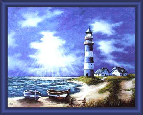wandbild blauer leuchtturm und boote mit blauem rahmen 50x60 cm. Black Bedroom Furniture Sets. Home Design Ideas