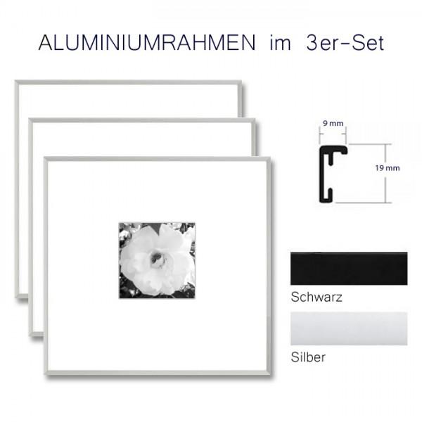 Alurahmen 10x10 im 3-er Set in Silber und Schwarz matt