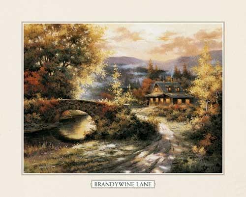 Herbstlandschaft mit Steinbrücke Lithodruck 56x71 cm