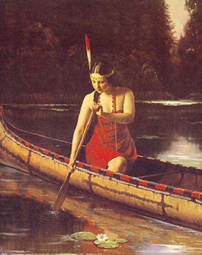 Inianerin im Kanu Poster 40x50 cm