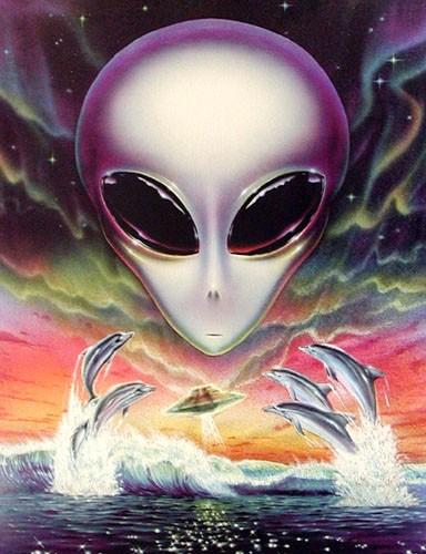 Alien, UFO und Delfine Dufex Alubild Poster 16x21 cm