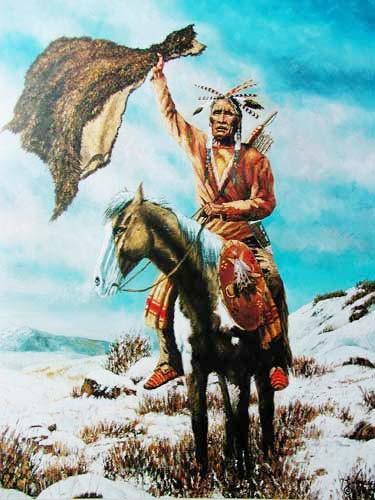Indianer aud Pferd im Winter by Vogtschmidt