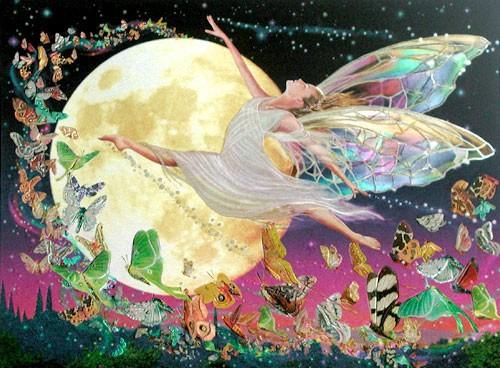 Tanzende Elfe mit Schmetterlingen Bild