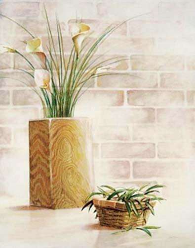 Stilleben, Kallas in Vase aus Holz