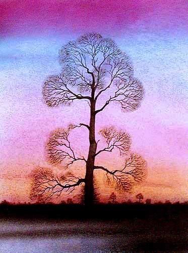 Baum Alu Bild 16x21 cm