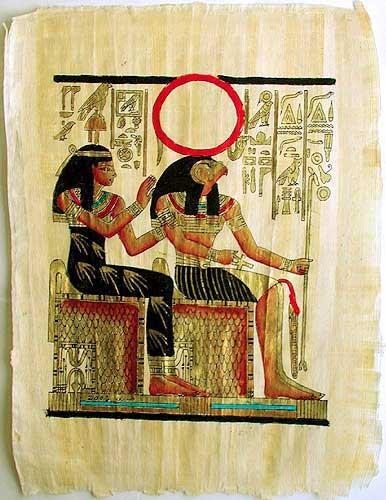 Amentet und Re-Harachte Bild auf Papyrus