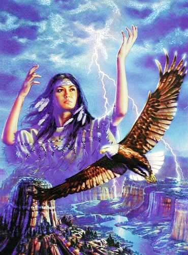 Aluminium Bild 43x54 cm: Indianerin mit Adler