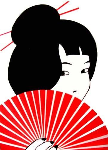 Asiatin mit rotem Fächer Alu Druck 16x21 cm