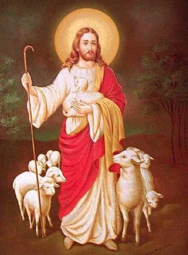 Jesus und seine Schafe- Bild