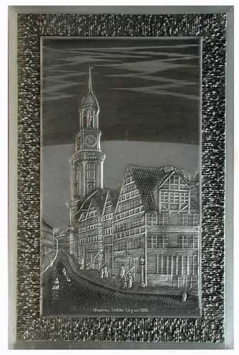 Hamburg, Hohler Weg, Michel um 1880 Zinnbild