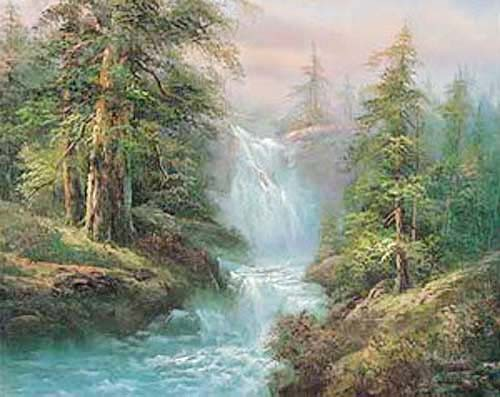 Landschaft mit Wasserfall by Rachab