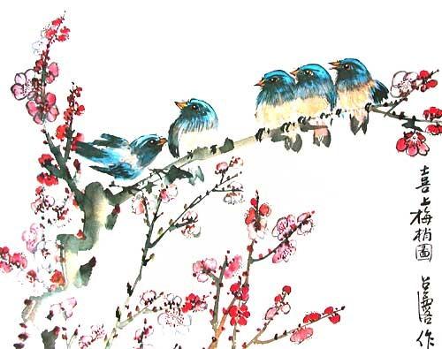 Vögel auf Apfelbamzweig, silber