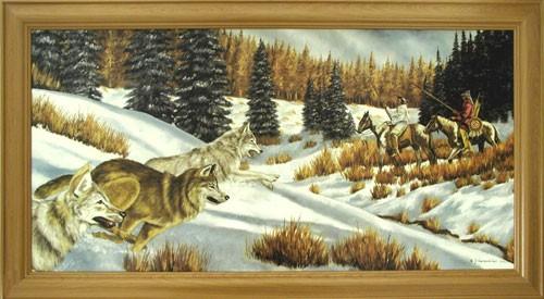 Indianer, Wölfe im Winter by J. T. Vogtschmidt