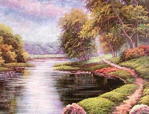 Landschaft mit Fluss Alu Bild