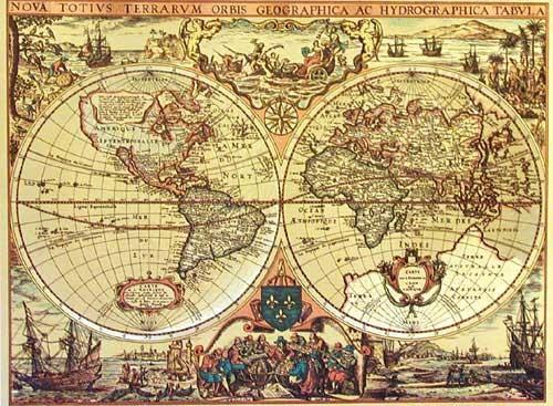 Hydrographische und geographische Weltkarte, Gold